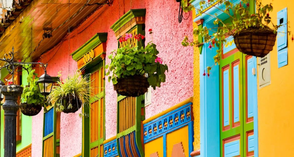 Hanging plants outside of colorful Colombia houses