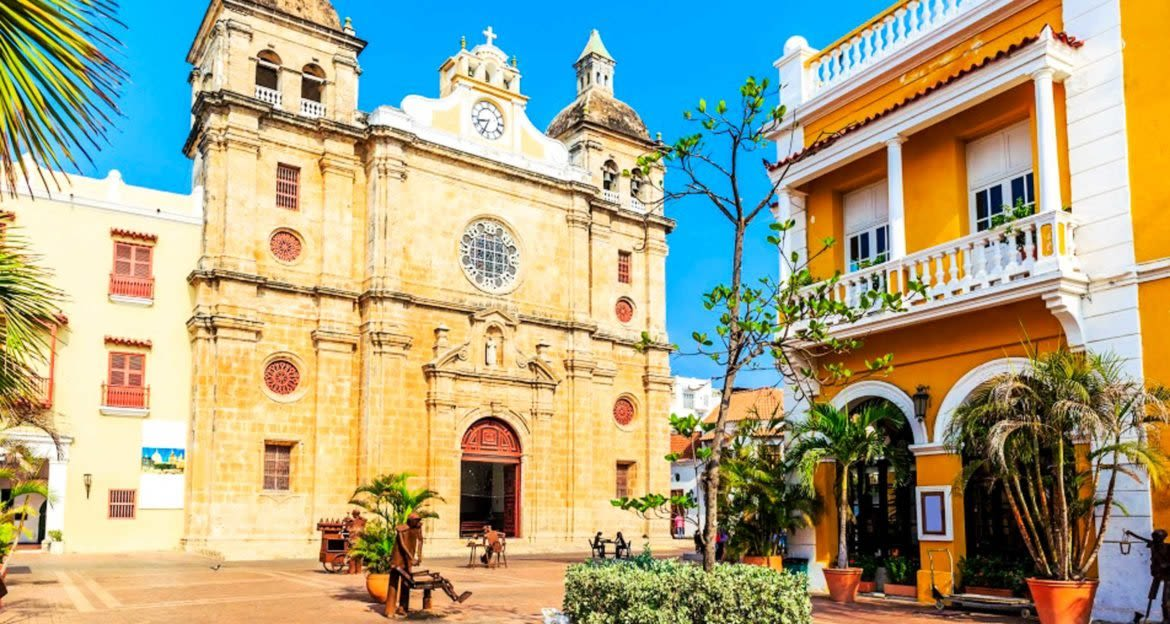 Buildings in Colombia town square