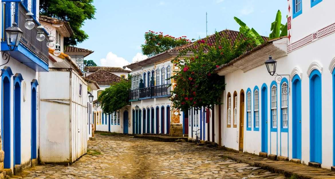 Cobbled street in Colombia town