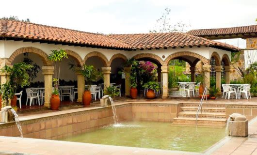 Fountain in courtyard of Colombia villa