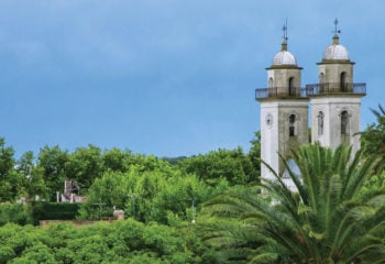 Beautiful view of colonia del sacramento church towers while on a Uruguay vacation