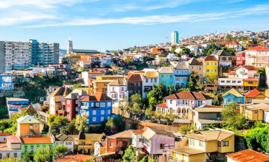 Colorful houses on hillside of Chile city