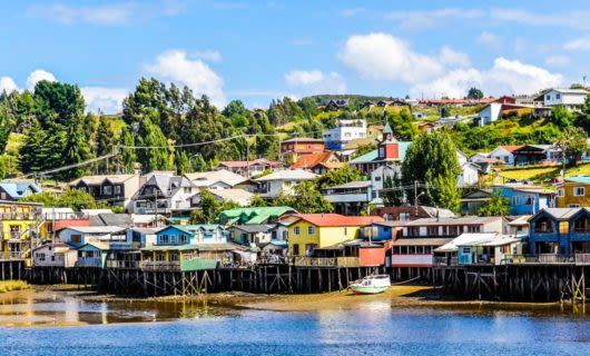 Colorful houses in coastal South America town