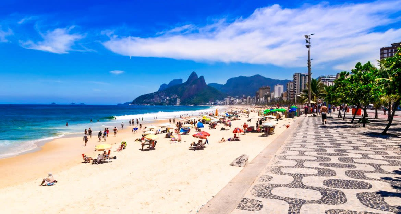 Beach-goers at Copacabana