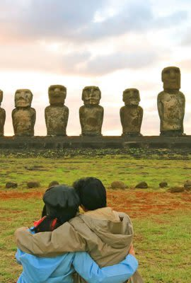 couple looking at the moai statues in easter island