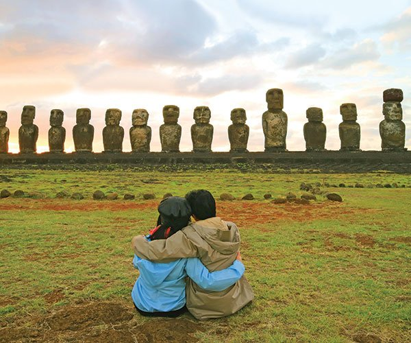 honeymooners at Easter Island Chile as they enjoy their South America Honeymoon