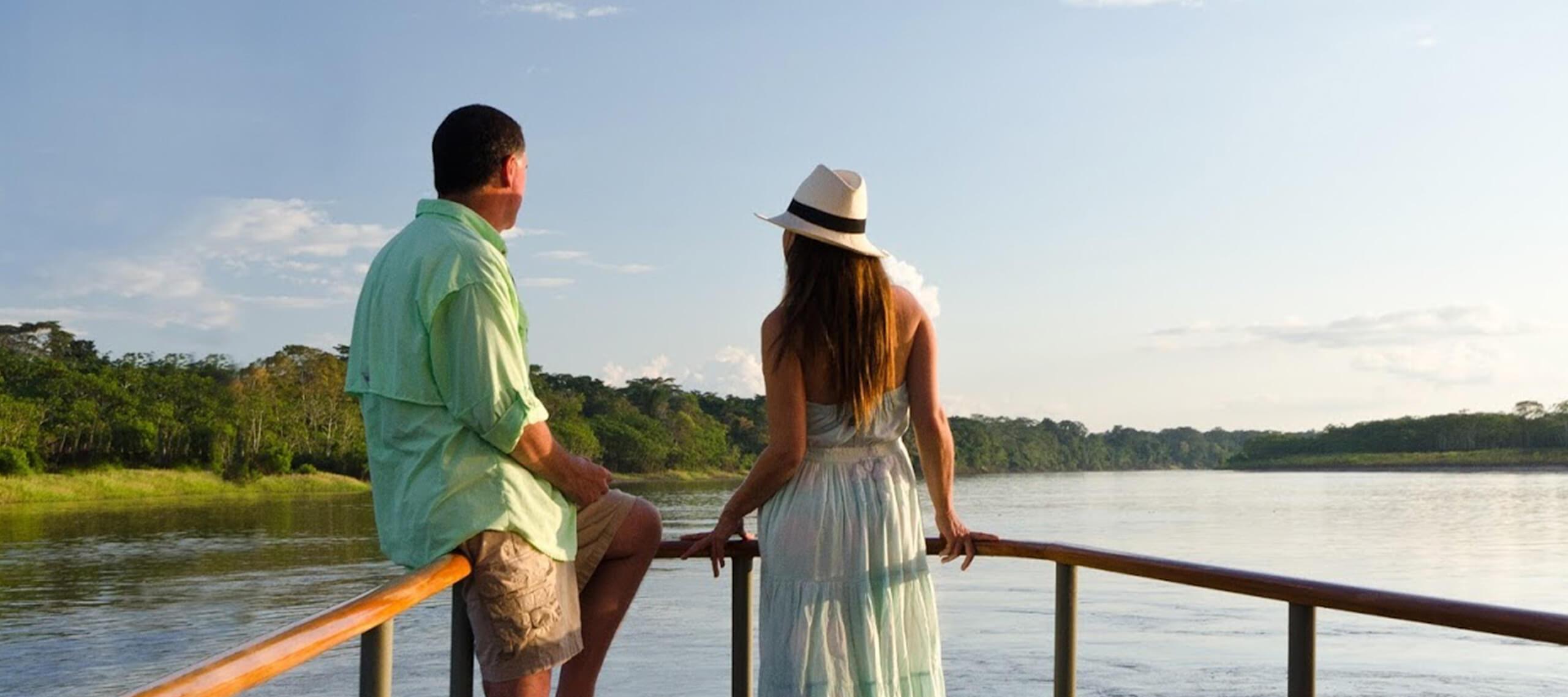 couple on a peru amazon cruise