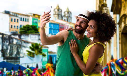 Couple takes selfie on Brazil street