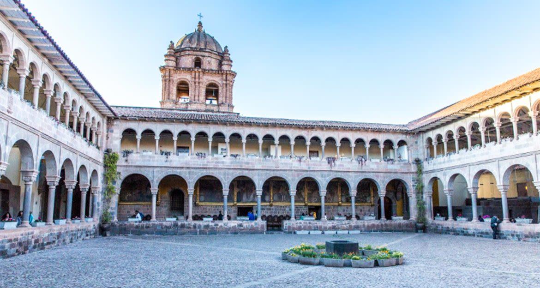 Courtyard of church in Cusco, Peru