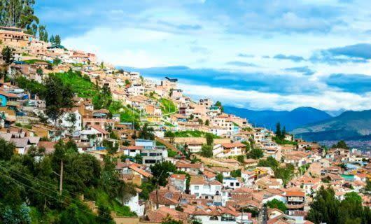 Cityscape of Cusco, Peru hillside