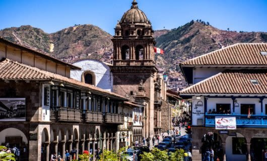 Buildings and busy streets of Cusco, Peru