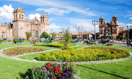 Plaza with garden in Cuzco, Peru