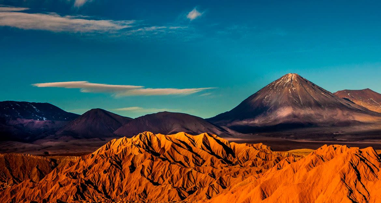 Desert mountains under low angle sun