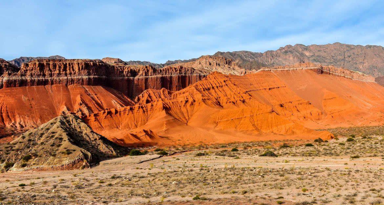 Orange and red ridges of desert mountains