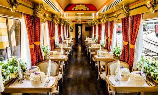 Interior of luxury train dining car