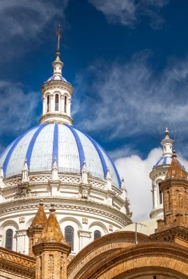 view of the blue dome of a cathedral in cuenca ecuador on an ecuador tour