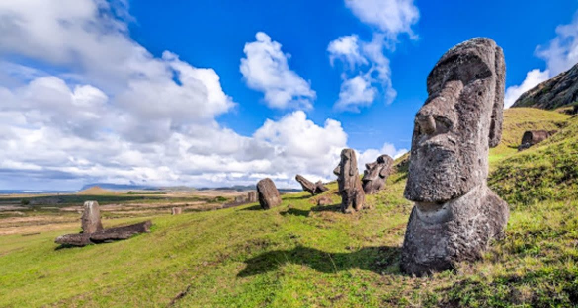 Easter Island statues on hillside