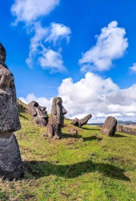 Famous Moai statues seen on the hillside of an Easter Island tour