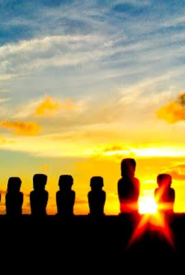 Moai Heads during sunset