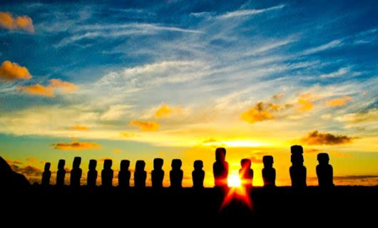 Sunset behind row of statues on Easter Island