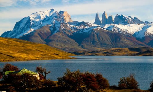 EcoCamp Patagonia on shore of lake
