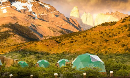 Geodesic EcoCamp buildings near Patagonia mountains