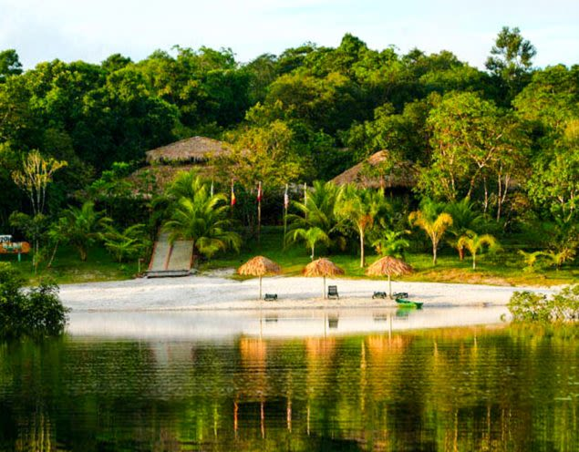 Beach in front of Amazon Ecopark Jungle Lodge