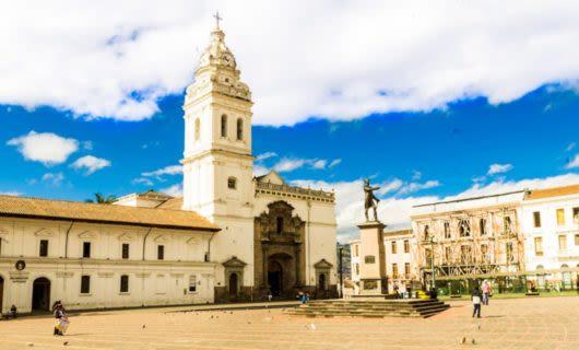 Courtyard near church in Ecuador