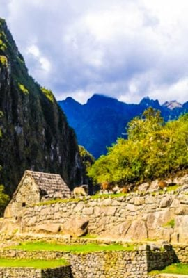 Close up view of Machu Picchu and Peruvian ruins