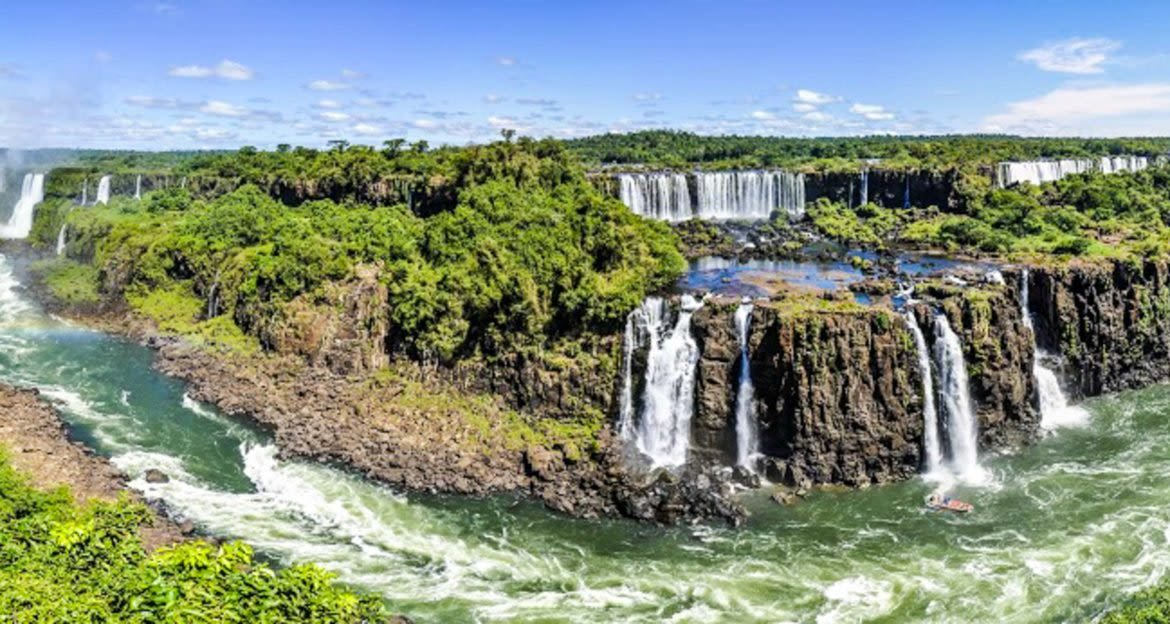 Panoramic view of Iguazu Falls and river