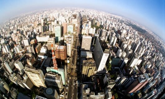 Aerial fisheye view of Brazil city