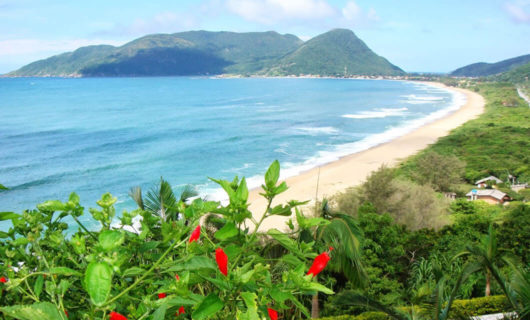 view of florianopolis beach and distant hills
