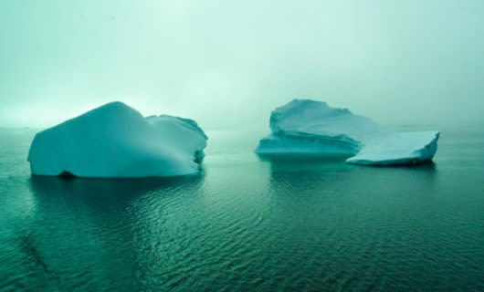 Two small glaciers in foggy ocean