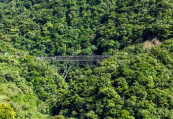 The bridge travelers cross on a Brazil train tour through the Atlantic Rainforest