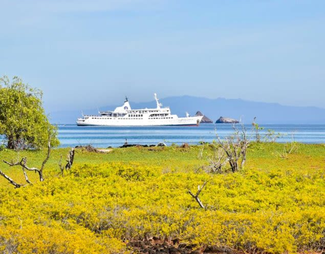 Cruise ship passes Galapagos landscape