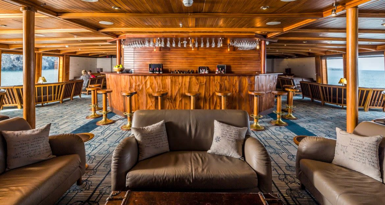 Bar and lounge area of Galapagos cruise ship