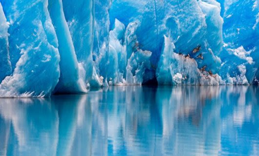 Base of glacier in icy water