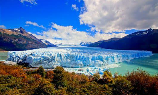 View across glacier valley in autumn