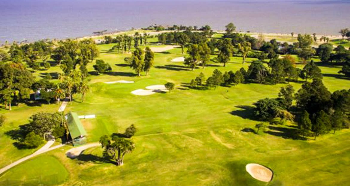 Aerial view of coastal golf course