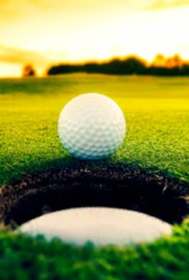 Golf Ball and hole at course