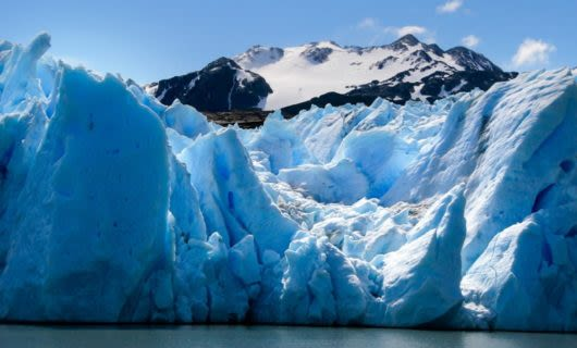 Close up of Grey Glacier and mountain