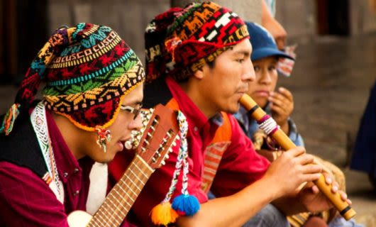 Group of South America performers plays instruments