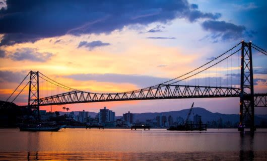 Hercilio Luz Bridge in Brazil at sunset