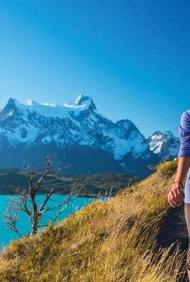 hiker on an argentina chile tour in patagonia