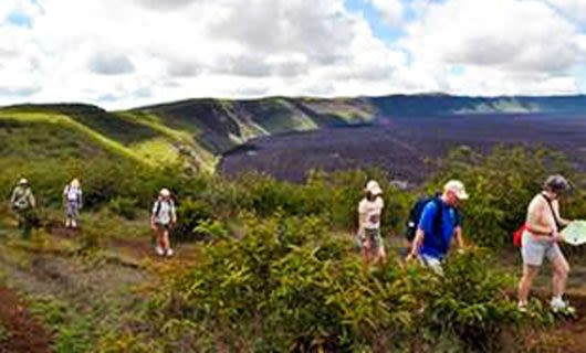 Hiking group in the hills of Galapagos