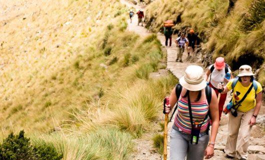 Hikers trek the Inca Trail