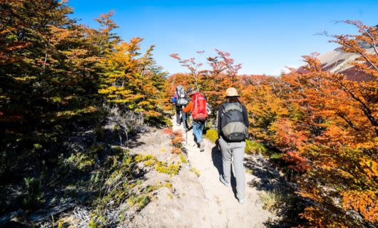 Hiking group treks up rocky trail
