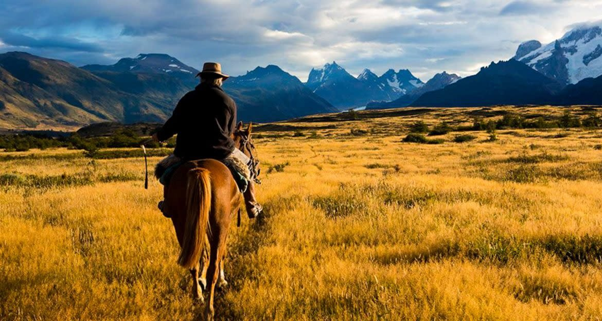 Horseback rider in field of Patagonia valley