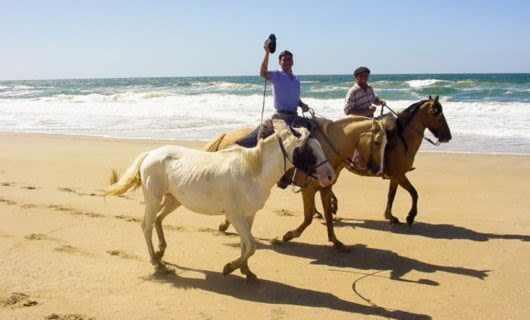 People ride horses down beach