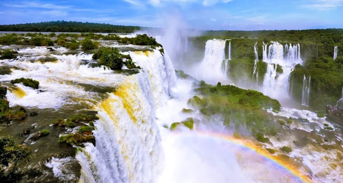 Rainbow at the base of Iguazu Falls